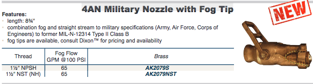 4AN Military Nozzle with Fog Tip