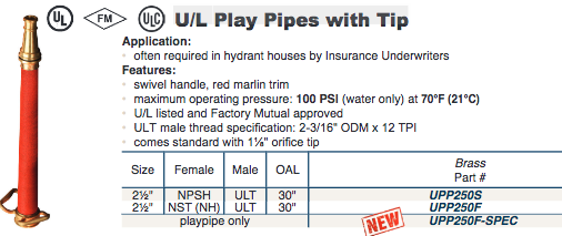 U/L Fire Fighting Play Pipes with Tip