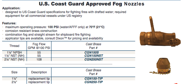 U.S. Coast Guard Approved Fog  Nozzles