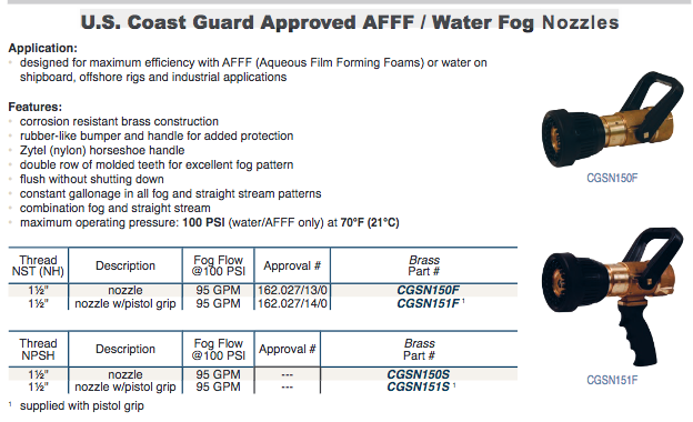 U.S. Coast Guard Approved AFFF / Water Fog  Nozzles